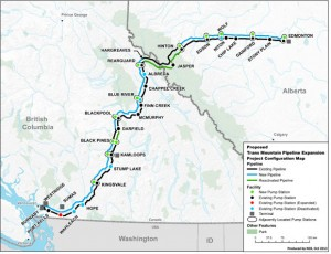 Map of proposed Trans Mountain pipeline and tanker proposal.
