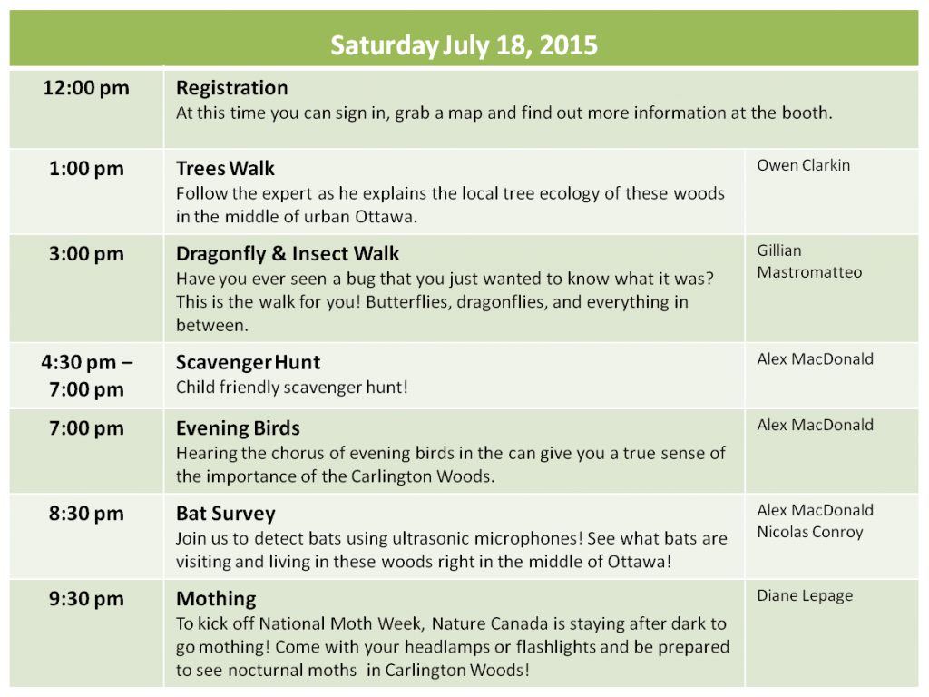 NatureBlitz Schedule for Saturday, July 18 2015