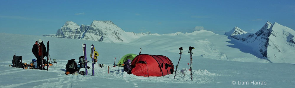 Image of camp on the Columbia Icefields in Jasper National Park