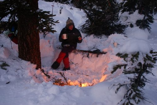 Image of winter camping fire