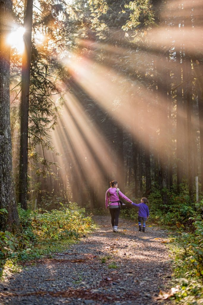 Image of a mother and daughter in a forest