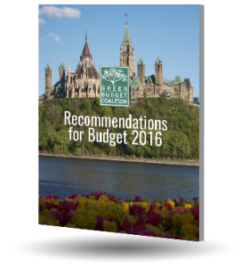 image showing cover of Budget 2016 recommendations, showing Parliament overlooking the Ottawa River.
